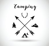 Camping, hunting sign vector illustration