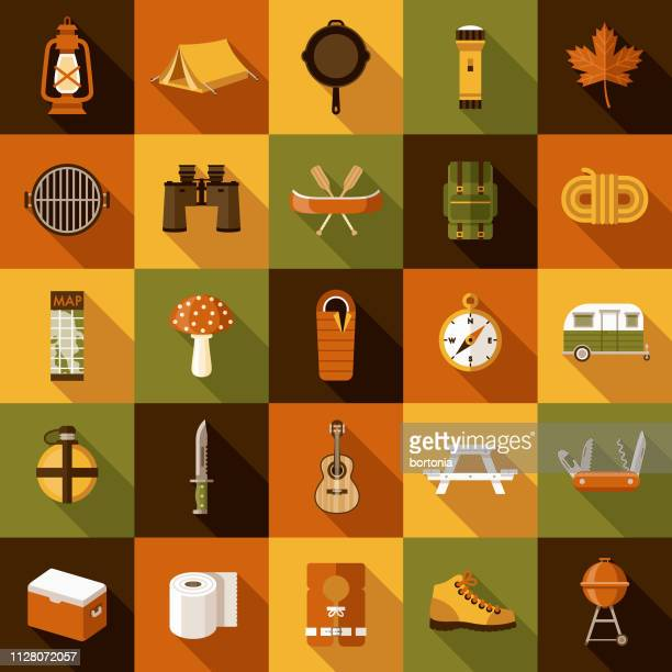camping icon set - recreational pursuit stock illustrations