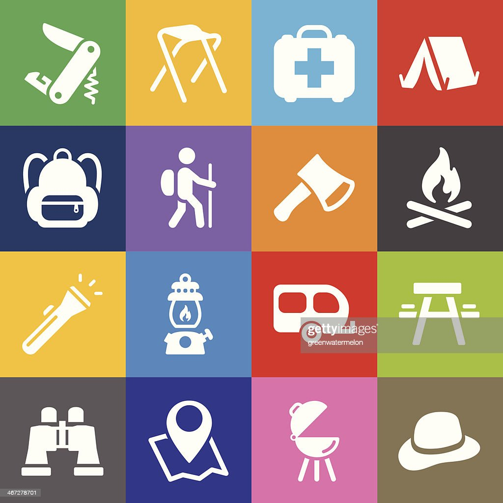 Camping Icons and Color Background