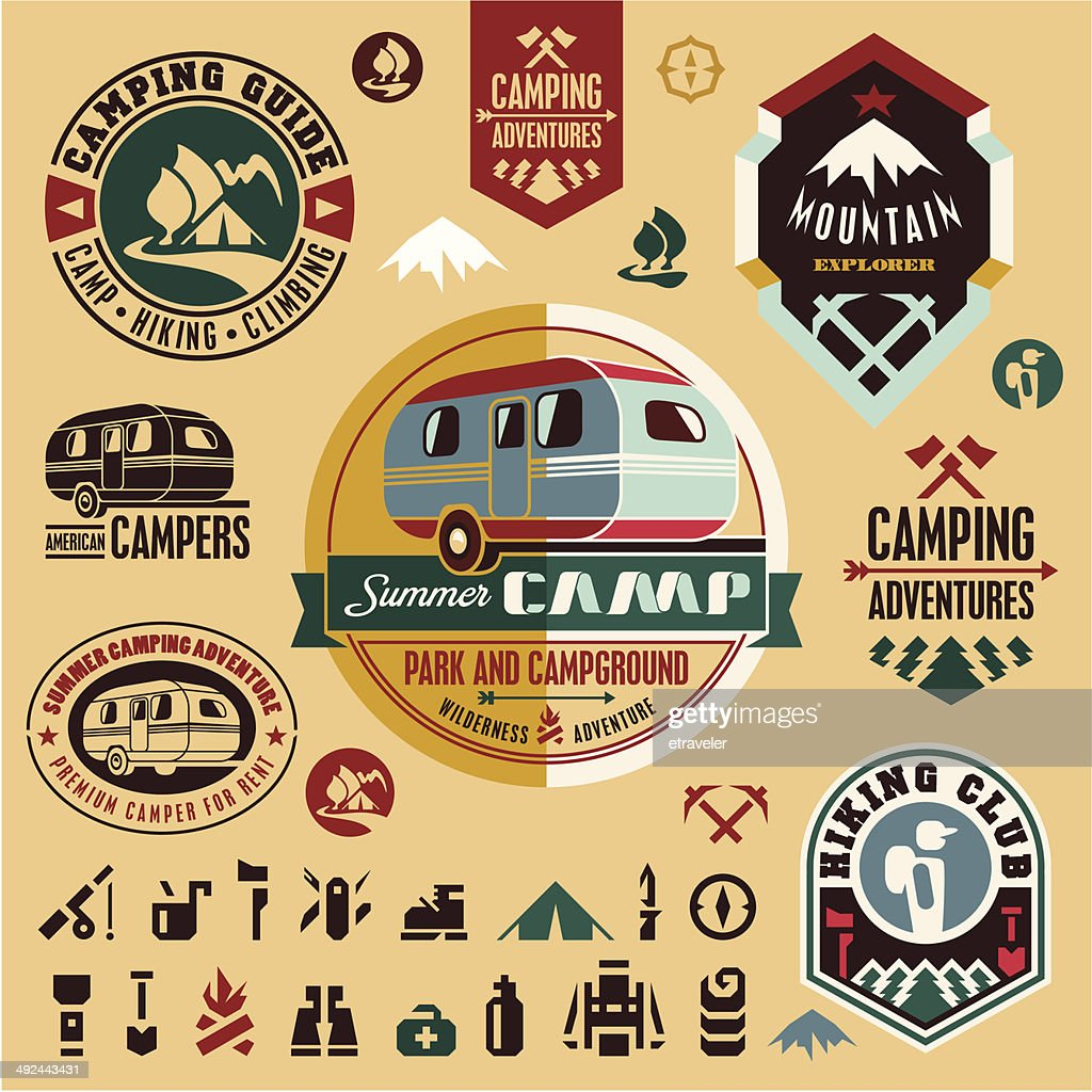 Camping icons. Camping equipment. Mountain.