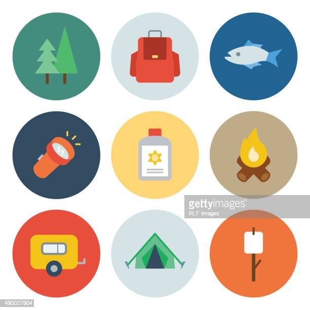 camping icons — circle series - tent stock illustrations, clip art, cartoons, & icons