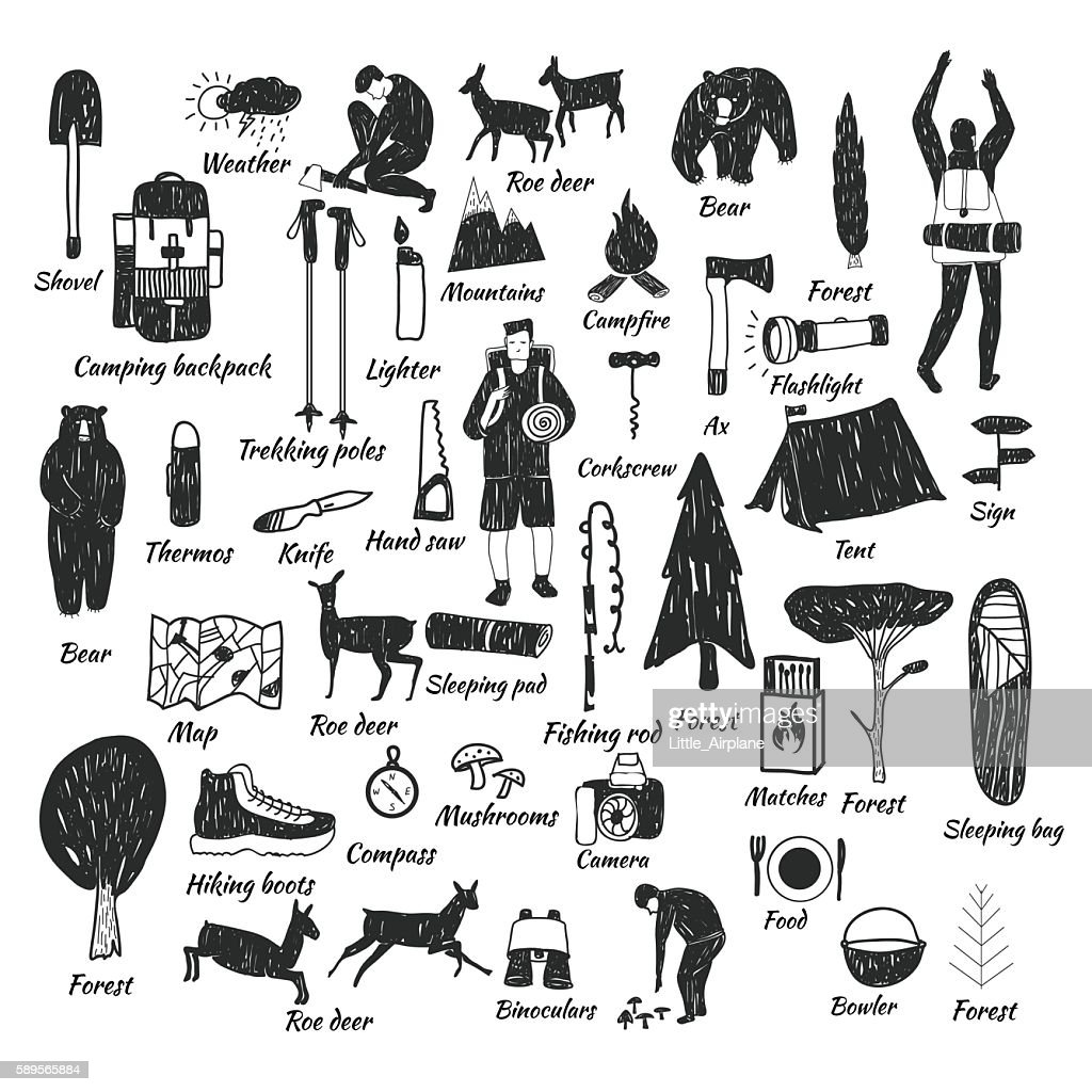 camping icons doodle text
