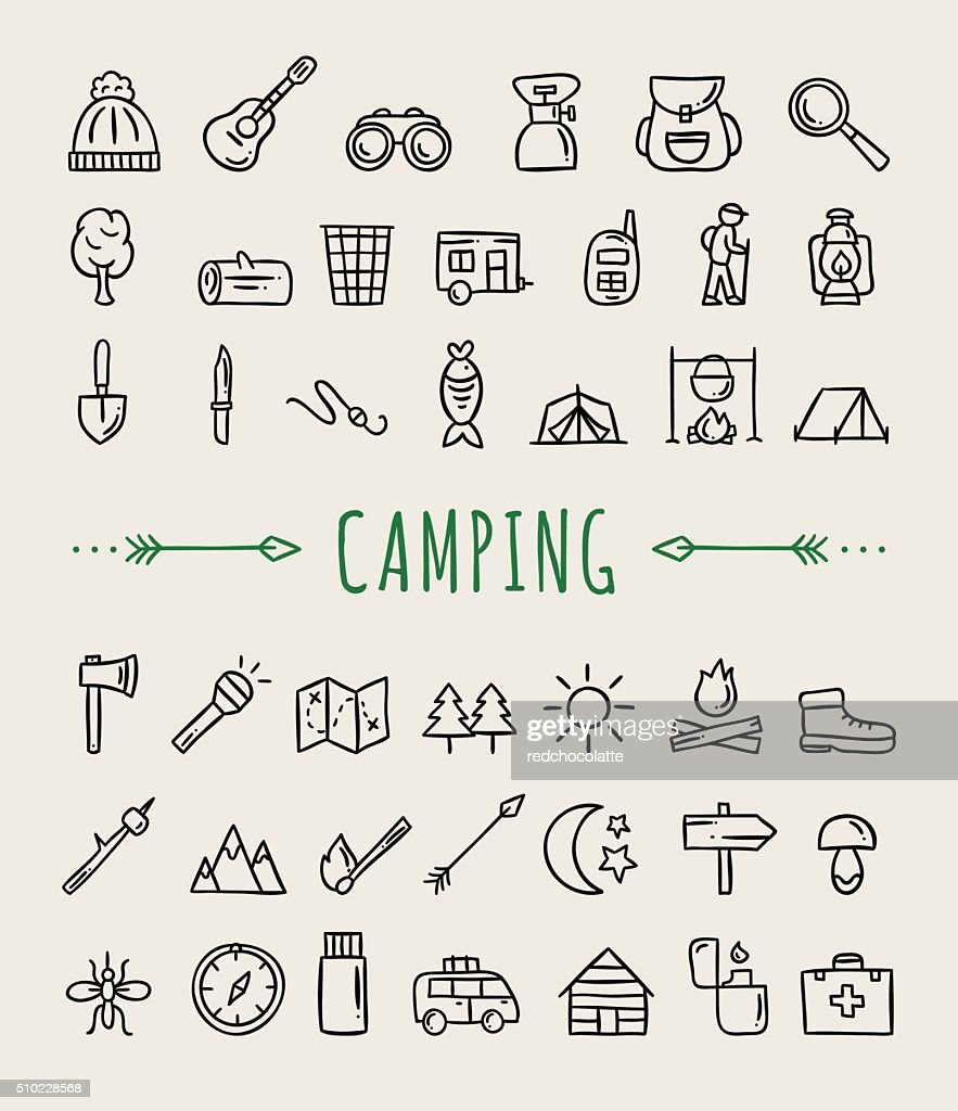 Camping icons. Hand drawn camping and travelling symbols