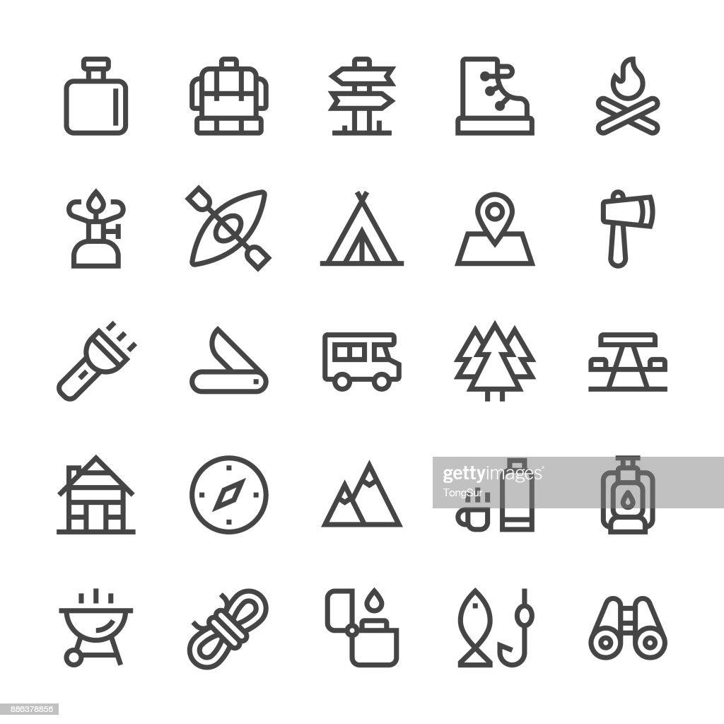Camping los iconos - línea MediumX : Ilustración de stock
