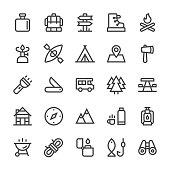 Camping Icons - MediumX Line