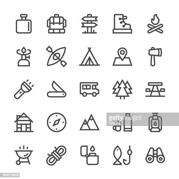 camping icons - mediumx line - rope stock illustrations