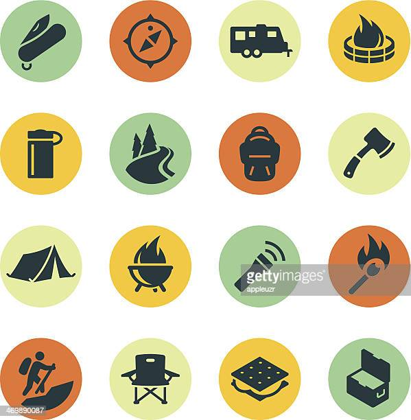 camping icons on colored circles - hatchet stock illustrations, clip art, cartoons, & icons