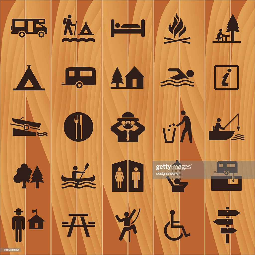 Camping Icons On Wooden Background
