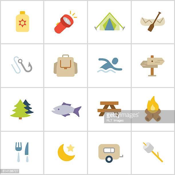 キャンプのアイコン—ポリシリーズ - ロースト点のイラスト素材/クリップアート素材/マンガ素材/アイコン素材