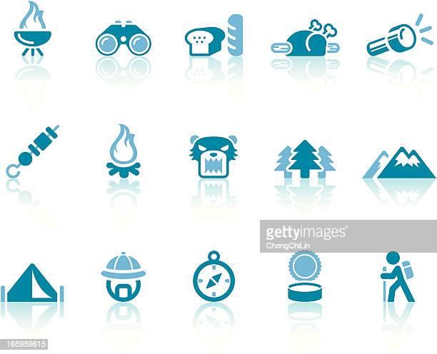 ilustraciones, imágenes clip art, dibujos animados e iconos de stock de campamento iconos/simple, serie azul - pollo asado