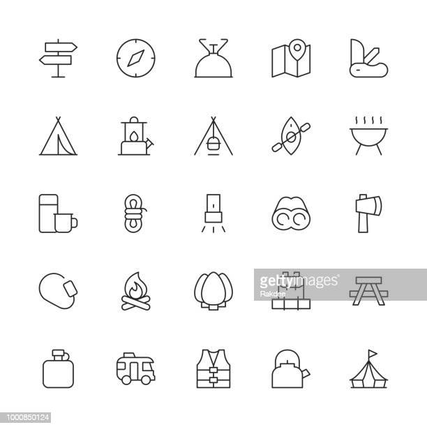 Camping Icons - dunne lijn serie