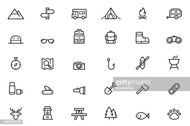 camping icons - mammal stock illustrations