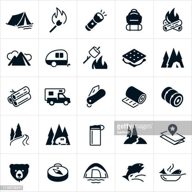 camping icons - recreational pursuit stock illustrations, clip art, cartoons, & icons
