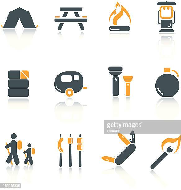 camping icons - warming up stock illustrations