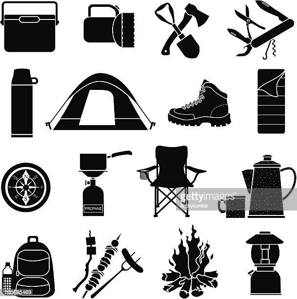 camping icons - hiking boot stock illustrations