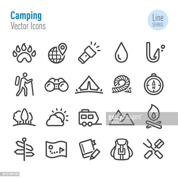 camping icons - vector line series - tent stock illustrations, clip art, cartoons, & icons