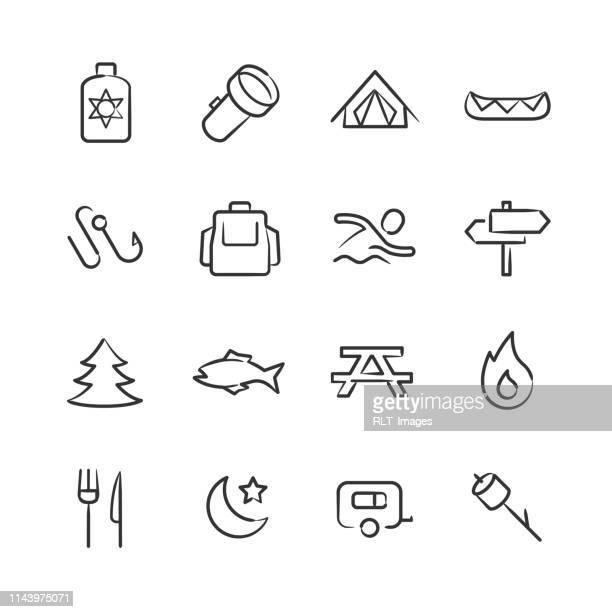 camping icons—sketchy series - flashlight stock illustrations