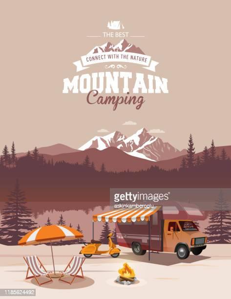illustrations, cliparts, dessins animés et icônes de illustration de camping - camping car
