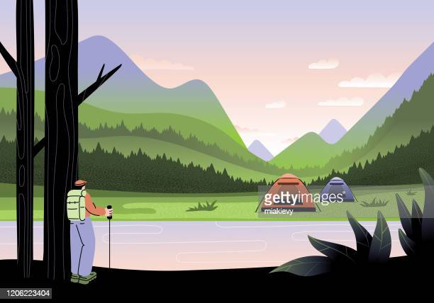 camping in mountains - lakeshore stock illustrations