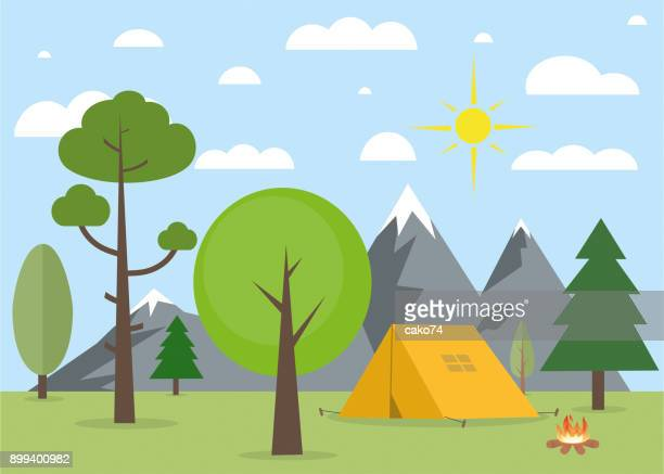 camping in nature landscape - tent stock illustrations, clip art, cartoons, & icons