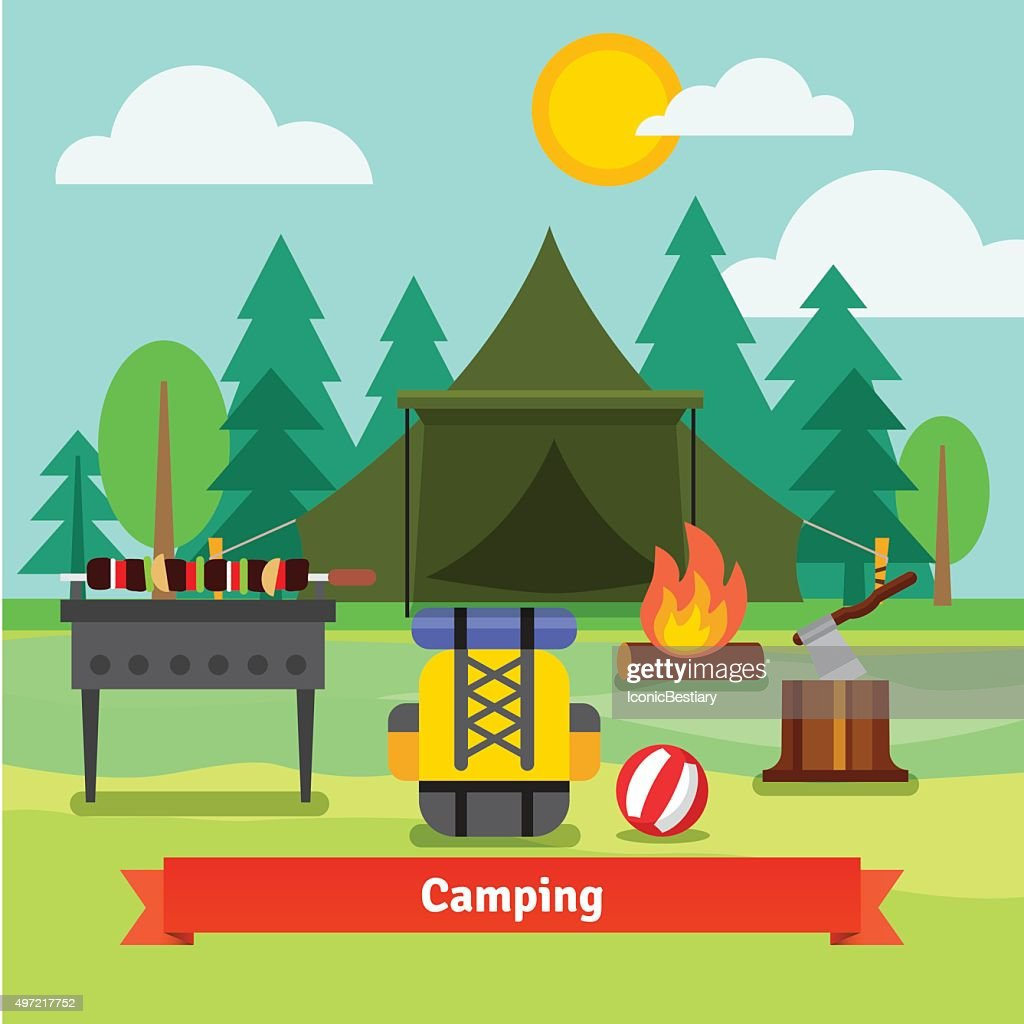 Camping in the forest with tent
