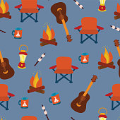 Camping items on a blue background - seamless vector pattern