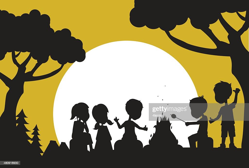 Camping Kids Silhouette