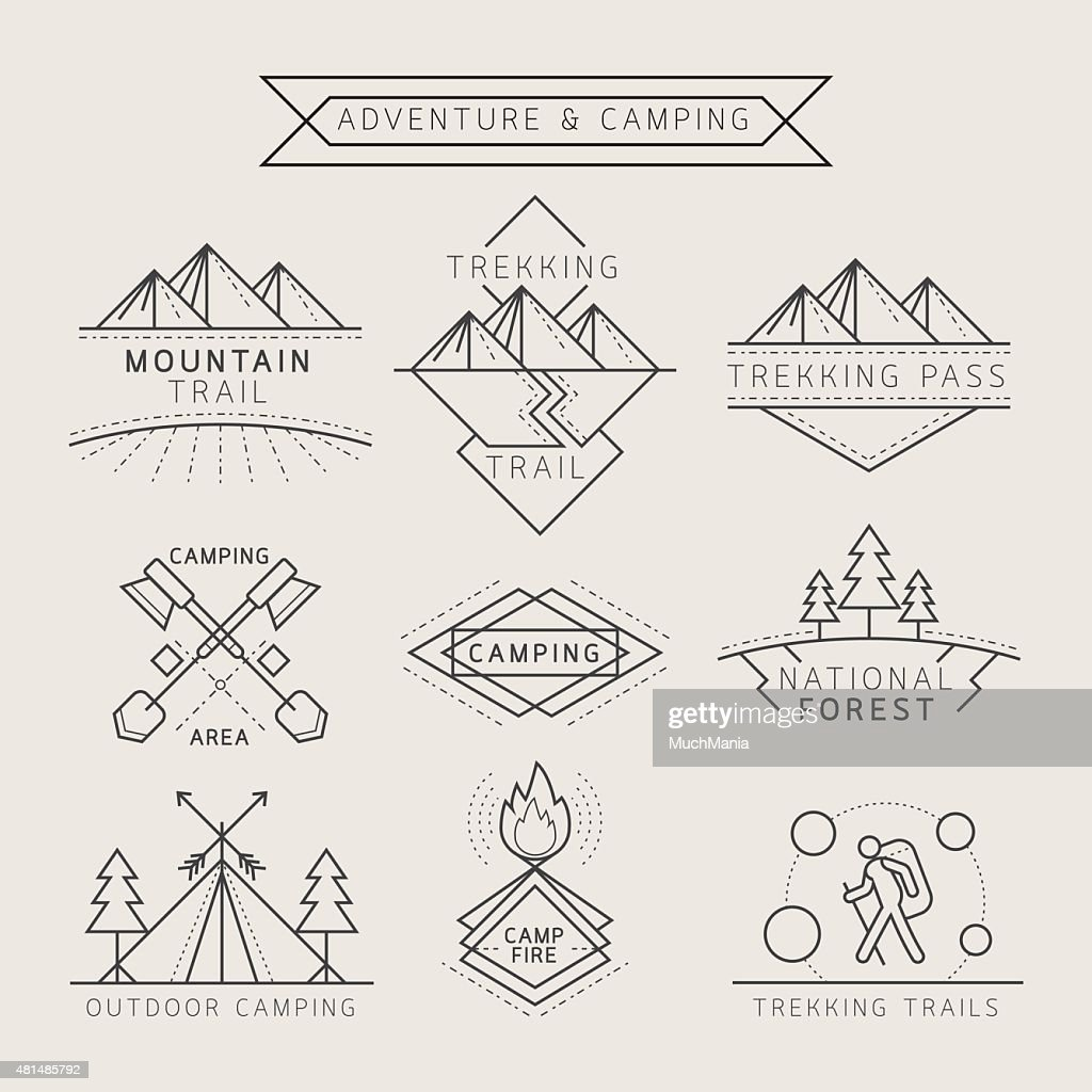 Camping Label and Badge Linear Style