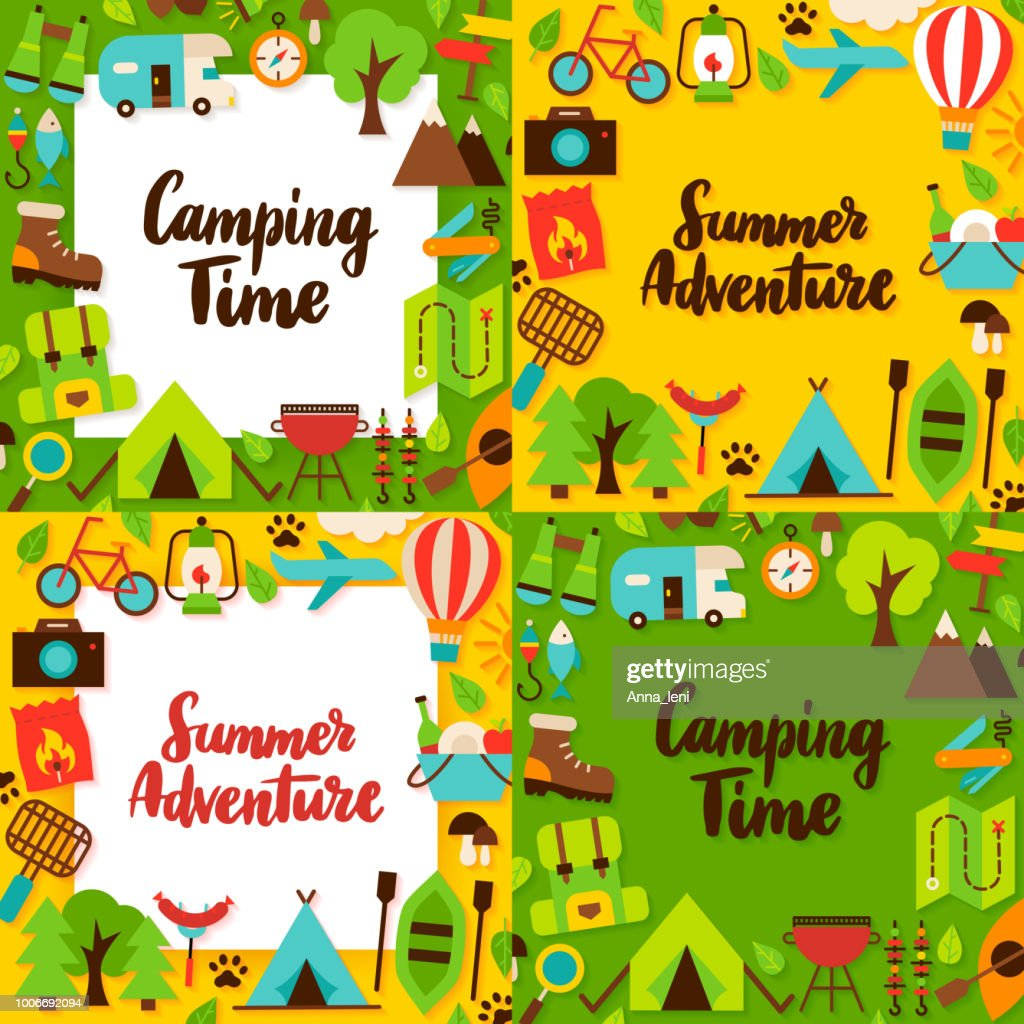 Camping Lettering Posters Set