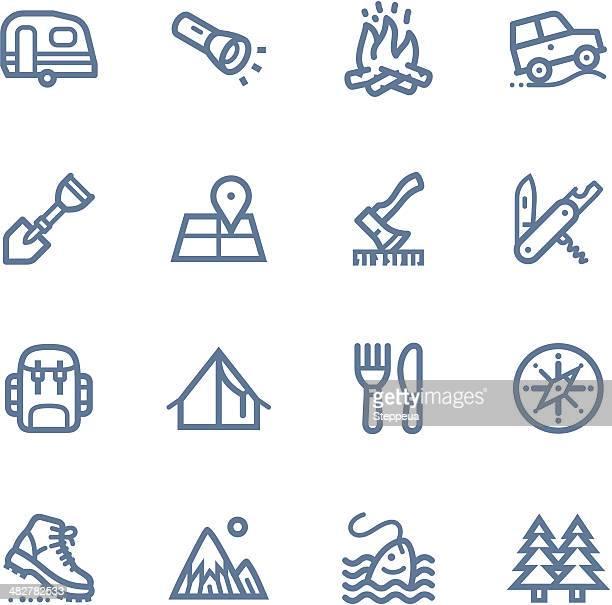 camping line icons - flashlight stock illustrations, clip art, cartoons, & icons