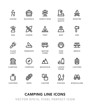 Camping Line Icons - gettyimageskorea