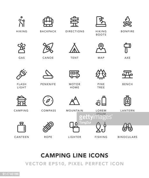 camping line icons - sports equipment stock illustrations