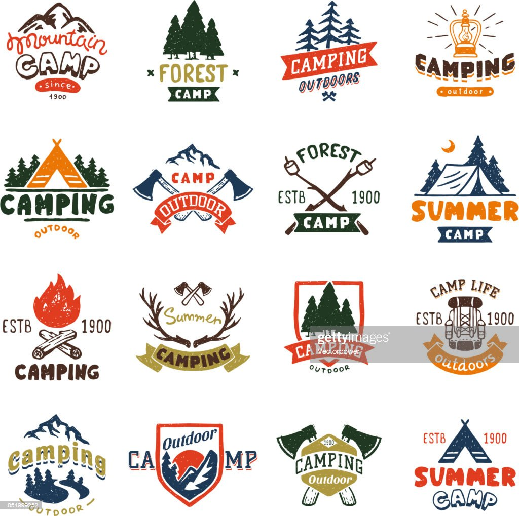 Camping logo badges and travel template hand drawn emblems vector illustration