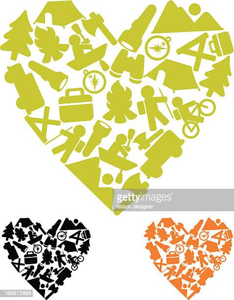 camping love icons - istock images stock illustrations