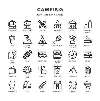 Camping - Medium Line Icons - gettyimageskorea