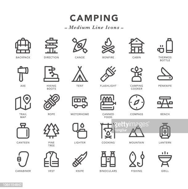 camping - medium line icons - tent stock illustrations, clip art, cartoons, & icons