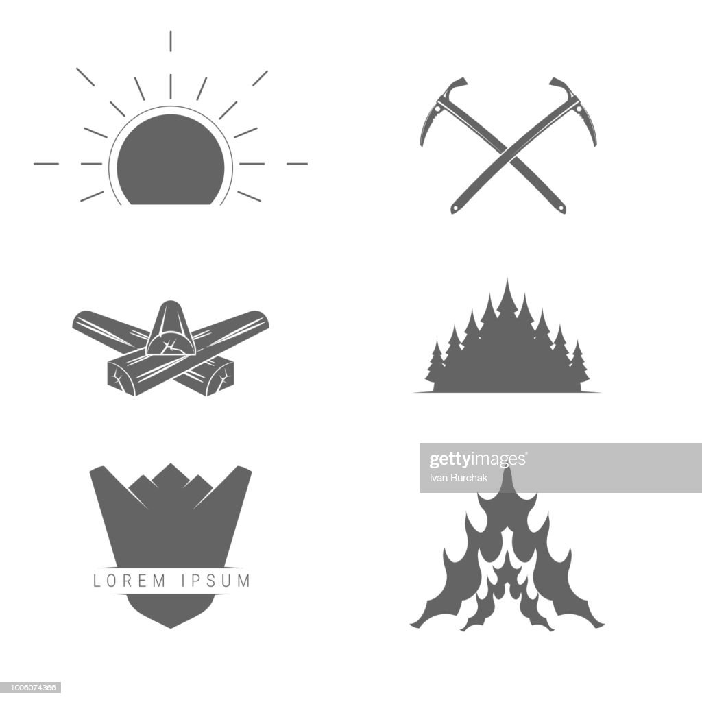 Camping, Outdoor or Mountain Adventure and Forest Expeditions. Alpine Tourism. Vector Design Elements Set for You Design