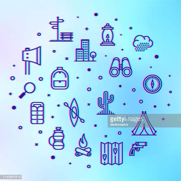 camping parks & vacations trips holographic style outline infographic design - sports training camp stock illustrations