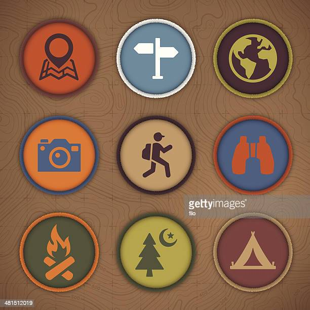 camping patch symbols - natural parkland stock illustrations, clip art, cartoons, & icons