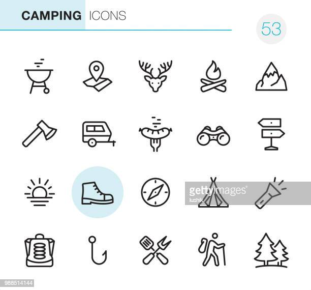 illustrations, cliparts, dessins animés et icônes de camping - icônes perfect pixel - feu