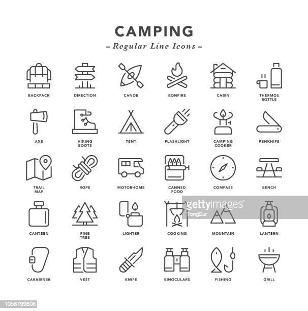 camping - regelmäßige linie symbole - im freien stock-grafiken, -clipart, -cartoons und -symbole