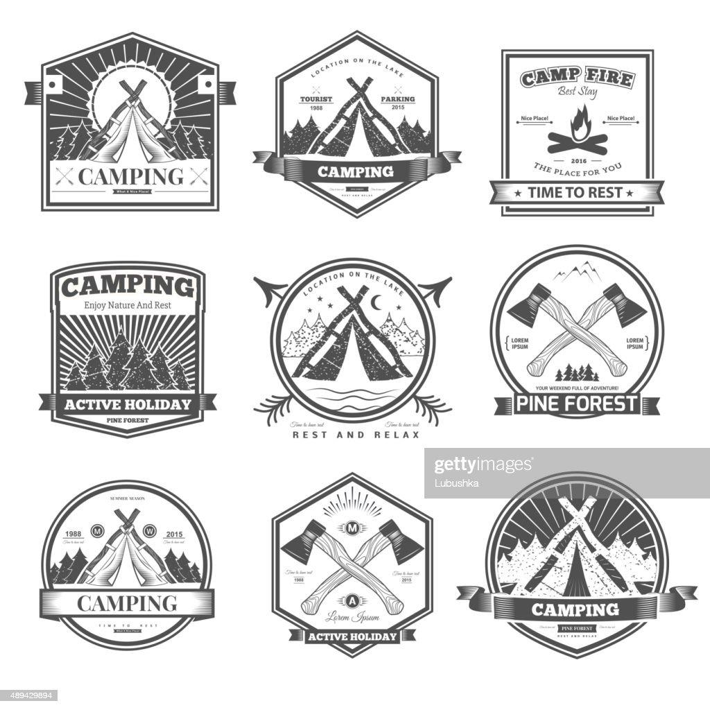 Camping  retro design elements