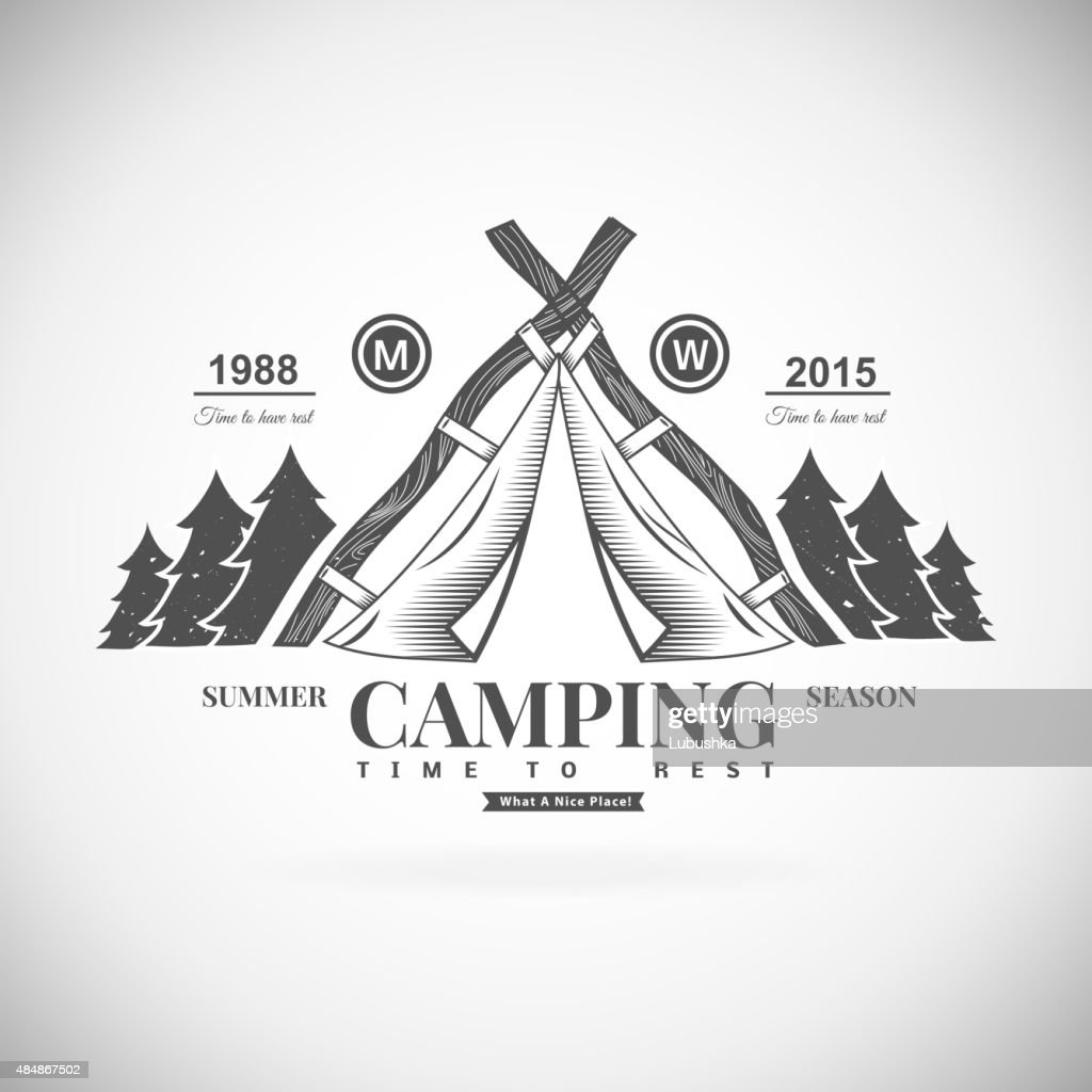 Camping retro vector element