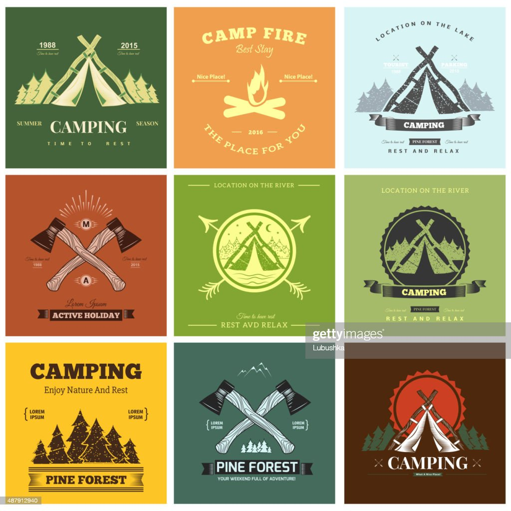 Camping  retro vector