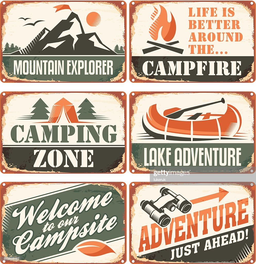 Camping signs collection