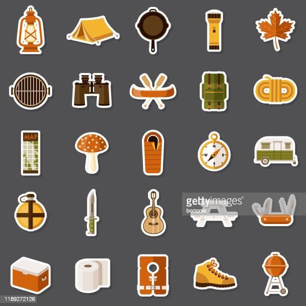 camping sticker set - flashlight stock illustrations