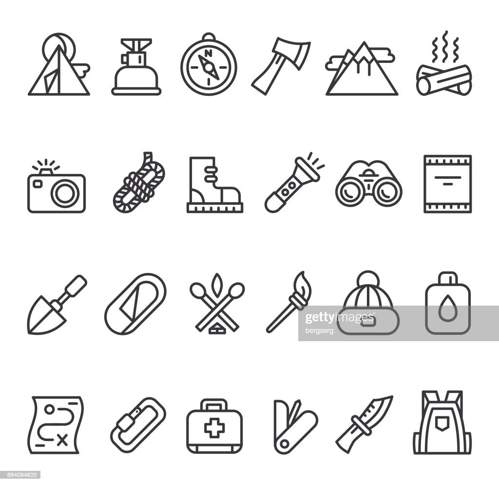 Camping Survival Icon Set : Stock Illustration