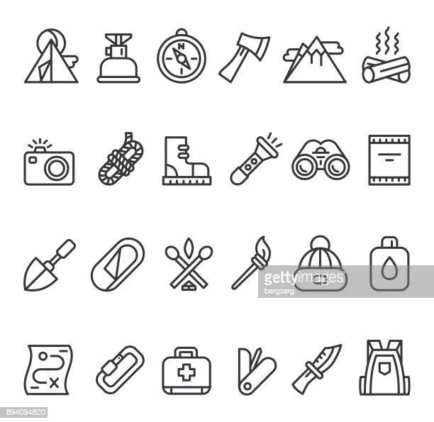 camping survival icon set - head above water stock illustrations