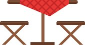 Camping table and chair vector set.