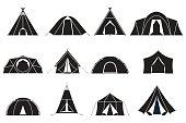 Camping Tents Icons Set